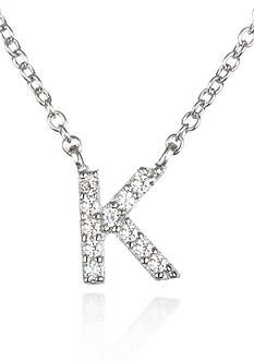 Belk & Co. Platinum Plated Sterling Silver Cubic Zirconia Initial K Necklace