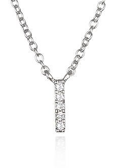 Belk & Co. Platinum Plated Sterling Silver Cubic Zirconia Initial I Necklace
