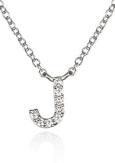 Belk & Co. Platinum Plated Sterling Silver Cubic Zirconia Initial J Necklace