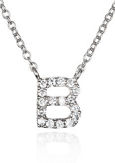 Belk & Co. Platinum Plated Sterling Silver Cubic Zirconia Initial B Necklace