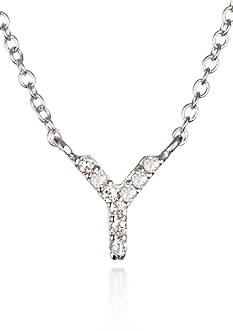 Belk & Co. Platinum Plated Sterling Silver Cubic Zirconia Initial Y Necklace