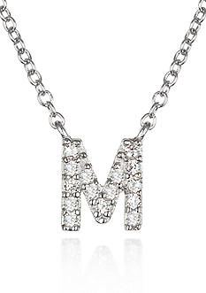 Belk & Co. Platinum Plated Sterling Silver Cubic Zirconia Initial M Necklace