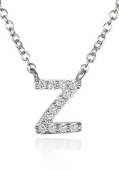 Belk & Co. Platinum Plated Sterling Silver Cubic Zirconia Initial Z Necklace