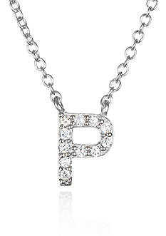 Belk & Co. Platinum Plated Sterling Silver Cubic Zirconia Initial P Necklace
