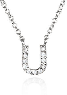 Belk & Co. Platinum Plated Sterling Silver Cubic Zirconia Initial U Necklace