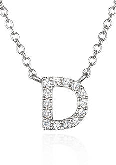 Belk & Co. Platinum Plated Sterling Silver Cubic Zirconia Initial D Necklace