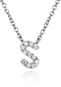 Belk & Co. Platinum Plated Sterling Silver Cubic Zirconia Initial S Necklace