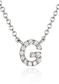 Belk & Co. Platinum Plated Sterling Silver Cubic Zirconia Initial G Necklace