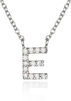 Belk & Co. Platinum Plated Sterling Silver Cubic Zirconia Initial E Necklace
