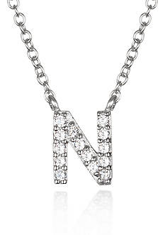 Belk & Co. Platinum Plated Sterling Silver Cubic Zirconia Initial N Necklace