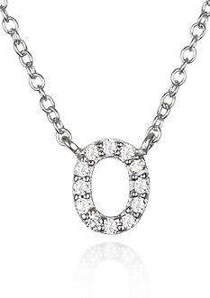 Belk & Co. Platinum Plated Sterling Silver Cubic Zirconia Initial O Necklace