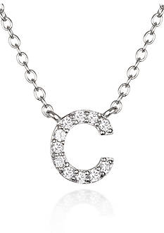 Belk & Co. Platinum Plated Sterling Silver Cubic Zirconia Initial C Necklace