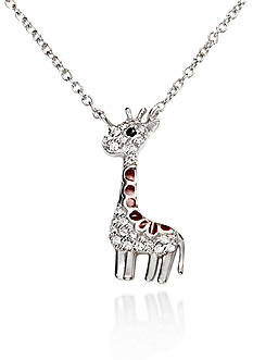 Belk & Co. Platinum-Plated Sterling Silver Cubic Zirconia Giraffe Pendant