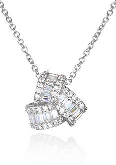 Belk & Co. Platinum-Plated Sterling Silver Cubic Zirconia Pendant