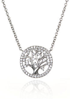 Belk & Co. Platinum Plated Sterling Silver Cubic Zirconia Tree of Life Pendant