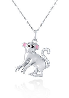 Belk & Co. Platinum-Plated Sterling Silver Cubic Zirconia Monkey Pendant