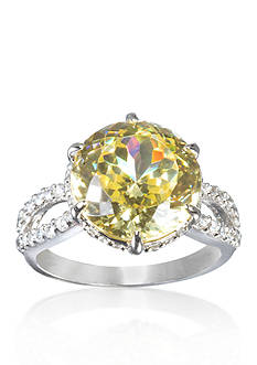 Belk & Co. Sterling Silver Platinum Plated Simulated Citrine and Cubic Zirconia Ring