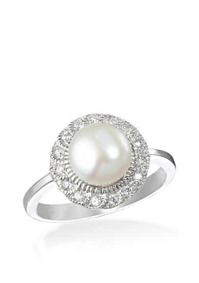 Belk & Co. Platinum Plated Sterling Silver Freshwater Pearl and Cubic Zirconia Ring