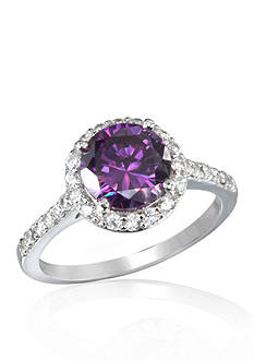 Belk & Co. Platinum Plated Sterling Silver Simulated Amethyst Cubic Zirconia Ring