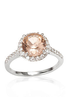 Belk & Co. Platinum Plated Sterling Silver Simulated Morganite Cubic Zirconia Ring