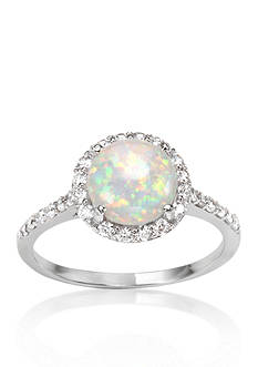 Belk & Co. Platinum-Plated Sterling Silver Simulated White Opal Cubic Zirconia Ring