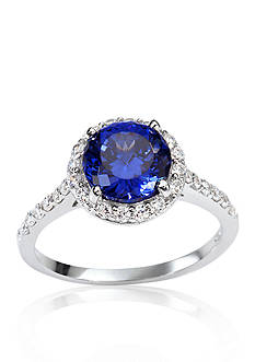 Belk & Co. Platinum Plated Sterling Silver Synthetic Sapphire Cubic Zirconia Ring
