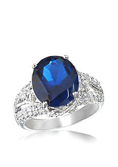 Belk & Co. Platinum-Plated Sterling Silver Created Sapphire Ring