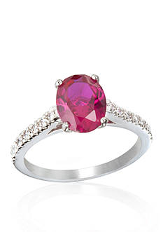 Belk & Co. Platinum Plated Sterling Silver Synthetic Ruby and Cubic Zirconia Ring