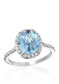 Belk & Co. Platinum Plated Sterling Silver Simulated Aquamarine and Cubic Zirconia Ring