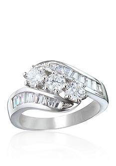 Belk & Co. Platinum Plated Sterling Silver 3 Stone Cubic Zirconia Ring