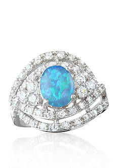 Belk & Co. Platinum Plated Sterling Silver Simulated Blue Opal Cubic Zirconia Ring