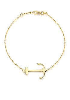 Belk & Co. 14K Yellow Gold High Polish Sideways Anchor Bracelet