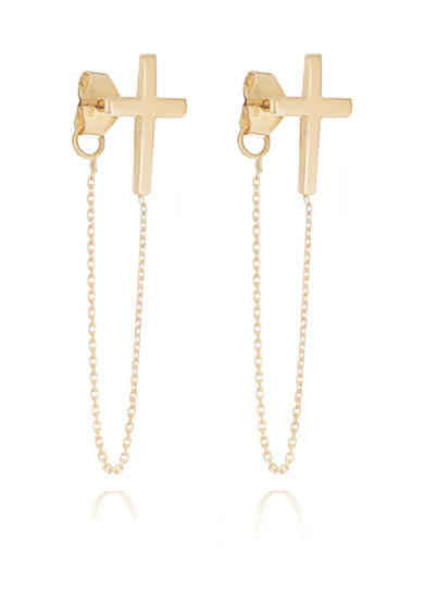 Belk & Co. 14kt Yellow-Gold Cross And Dangling Chain Post Earrings