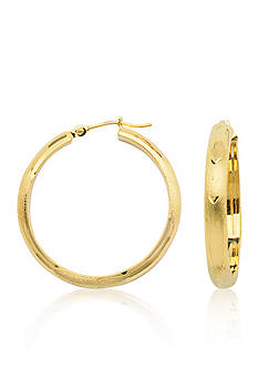 Belk & Co. 14k Yellow Gold Florentine Finish Hoop Earrings