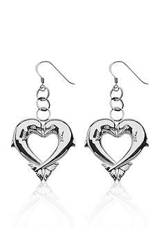Belk & Co. Kissing Dolphins Heart Dangle Earrings set in Sterling Silver