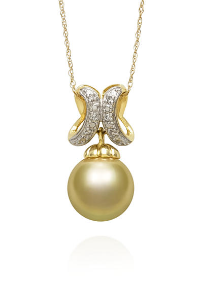 Belk & Co. South Sea Pearl and Diamond Accent Pendant set in 14k Yellow Gold