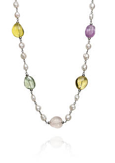 Belk & Co. Baroque Freshwater Pearl Multi Colored Quartz Necklace