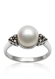 Belk & Co. Akoya Pearl and Diamond Ring set in 14k White Gold
