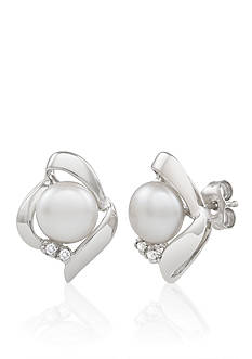 Amour de Pearl Sterling Silver Freshwater Pearl and Diamond Earrings