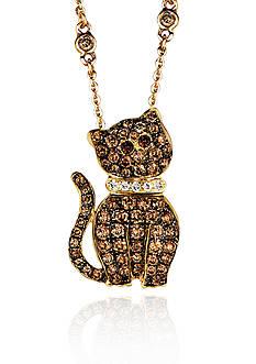 Le Vian Chocolate Diamond® and Vanilla Diamond® Cat Pendant in 14k Honey Gold™