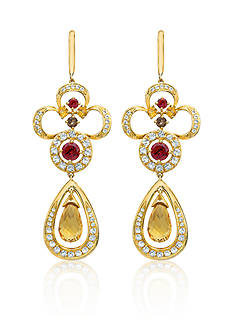Le Vian Cinnamon Citrine®, Raspberry Rhodolite®, Chocolate Quartz®, and Vanilla Topaz™ Earrings in 14k Hone