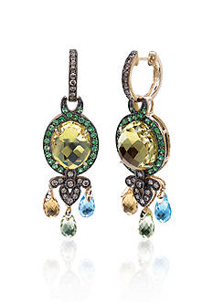 Le Vian 14k Honey Gold ™ Lime Quartz™ Multi Stone and Chocolate Diamond® Earrings