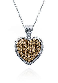 Le Vian Chocolate Diamond® and Vanilla Diamond® Heart Pendant in 14k Vanilla Gold®