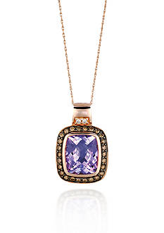 Le Vian 14k Strawberry Gold® Cotton Candy Amethyst®, Chocolate Diamond®, and Vanilla Diamond® Pendant