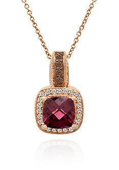 Le Vian Raspberry Rhodolite®, Chocolate Diamond®, and Vanilla Diamond® Pendant in 14k Strawberry Gold®