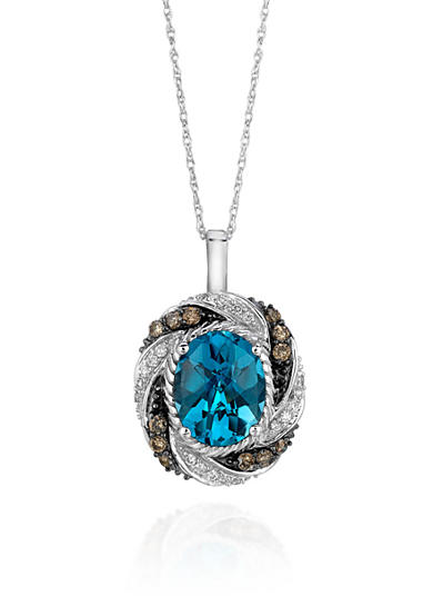 Le Vian® 14k Vanilla Gold® Ocean Blue Topaz™ Chocolate Diamond® and Vanilla Diamond® Pendant