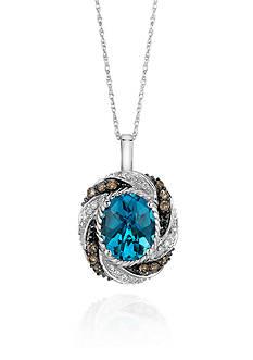 Le Vian® 14k Vanilla Gold® Ocean Blue Topaz™ Chocolate Diamond® and Vanilla Diamond® Pendant