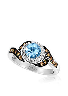 Le Vian 14k Vanilla Gold® Sea Blue Aquamarine®, Chocolate Diamond®, and Vanilla Diamond® Ring