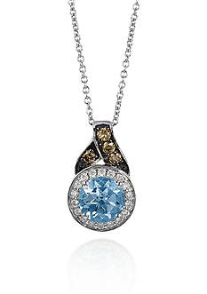 Le Vian 14k Vanilla Gold® Sea Blue Aquamarine®, Chocolate Diamond®, and Vanilla Diamond® Pendant