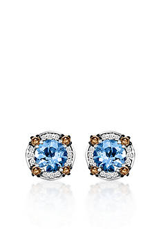 Le Vian 14k Vanilla Gold® Sea Blue Aquamarine®, Chocolate Diamond®, and Vanilla Diamond® Earrings